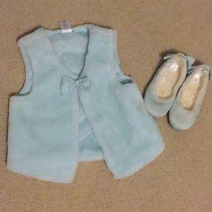 Gymboree faux fur vest & Baby Gap fur lined shoes